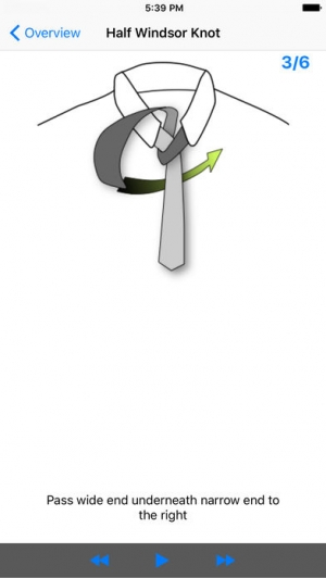 iPhone、iPadアプリ「vTie - ネクタイ - tie a tie guide with style for business, interview, wedding, party」のスクリーンショット 3枚目