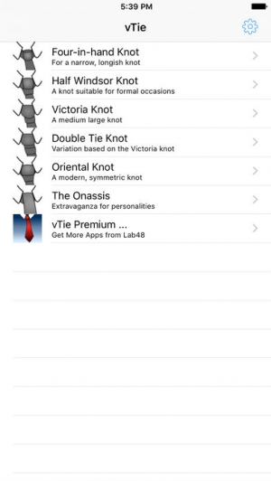 iPhone、iPadアプリ「vTie - ネクタイ - tie a tie guide with style for business, interview, wedding, party」のスクリーンショット 1枚目