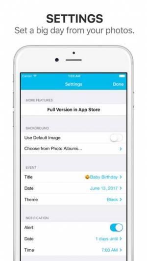 iPhone、iPadアプリ「Big Day Lite - 記念日までの日にちを通知」のスクリーンショット 5枚目