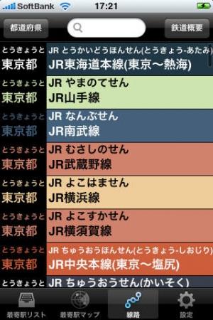 iPhone、iPadアプリ「最寄駅ナビ(Nearest Station Navi)」のスクリーンショット 1枚目