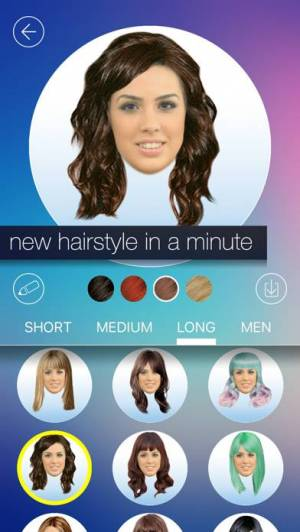 iPhone、iPadアプリ「Hair MakeOver - new hairstyle and haircut in a minute」のスクリーンショット 1枚目
