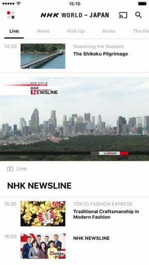 iPhone、iPadアプリ「NHK WORLD TV」のスクリーンショット 1枚目