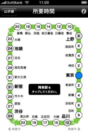 iPhone、iPadアプリ「山手線Exit」のスクリーンショット 1枚目