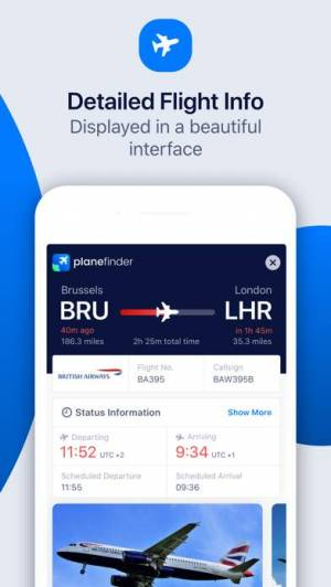 iPhone、iPadアプリ「Plane Finder Lite」のスクリーンショット 3枚目