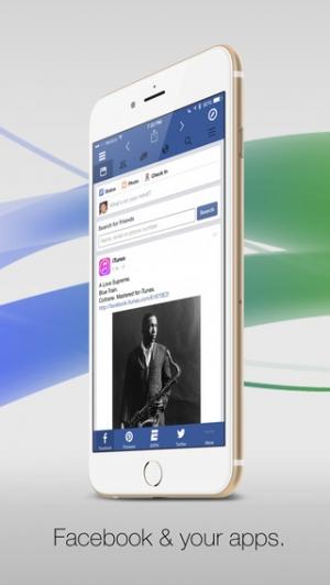 iPhone、iPadアプリ「Facely HDFacebook対応無料版 + ソーシャルアプリブラウザ」のスクリーンショット 1枚目