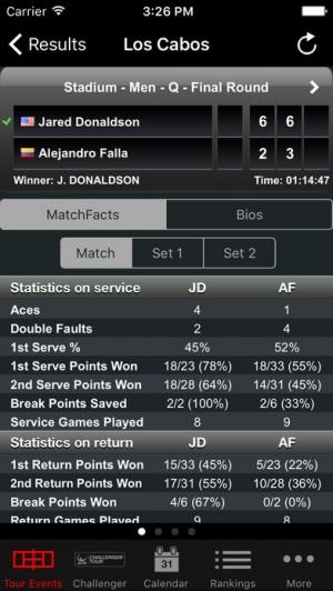 iPhone、iPadアプリ「ATP/WTA Live」のスクリーンショット 2枚目