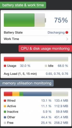 iPhone、iPadアプリ「System Status Pro: hw monitor」のスクリーンショット 1枚目