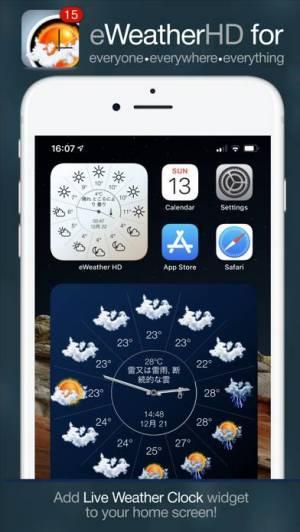 iPhone、iPadアプリ「eWeather HDー天気アプリ、天気予報、地震、津波」のスクリーンショット 1枚目