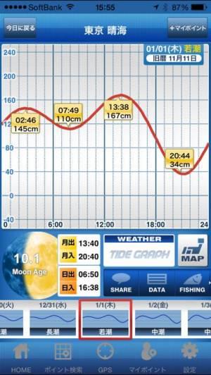iPhone、iPadアプリ「タイドグラフ」のスクリーンショット 2枚目