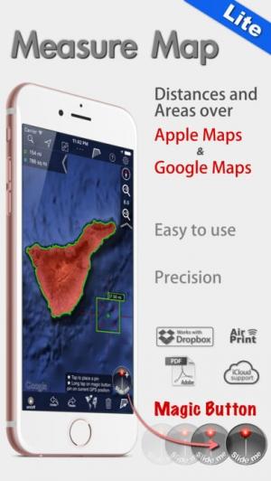 iPhone、iPadアプリ「地図計測ライト」のスクリーンショット 1枚目