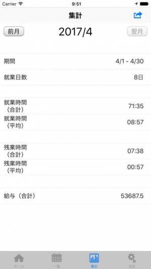 iPhone、iPadアプリ「タイムシート - IS - 出退勤管理」のスクリーンショット 5枚目