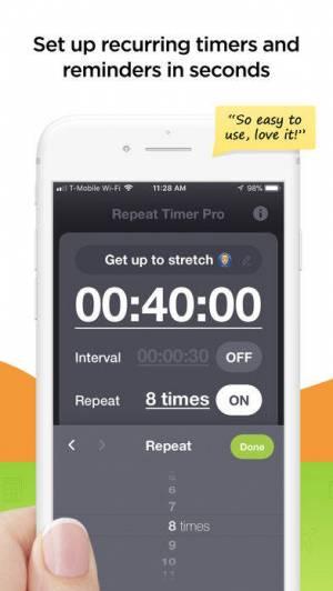 iPhone、iPadアプリ「Repeat Timer Pro」のスクリーンショット 2枚目