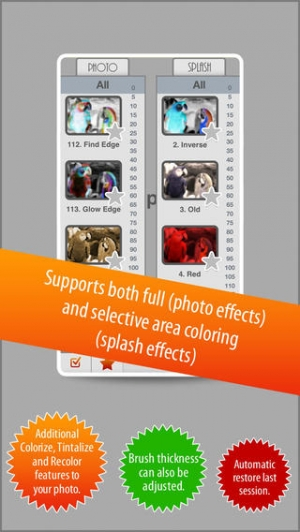 iPhone、iPadアプリ「Photo Splash FX - editor with multiple color stroke to splash, colorize, recolor and share on instagram, Facebook & dropbox」のスクリーンショット 1枚目