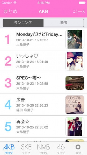 iPhone、iPadアプリ「週刊48ランキング for AKB48/SKE48/NMB48/乃木坂46/HKT48ファン」のスクリーンショット 1枚目