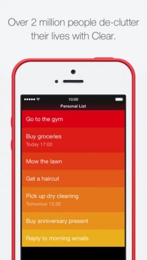 iPhone、iPadアプリ「Clear – タスク&ToDoリスト」のスクリーンショット 1枚目