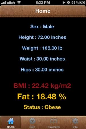 iPhone、iPadアプリ「体脂肪カロリー計算」のスクリーンショット 1枚目
