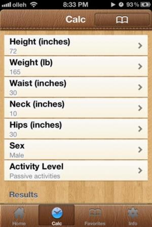 iPhone、iPadアプリ「体脂肪カロリー計算」のスクリーンショット 2枚目