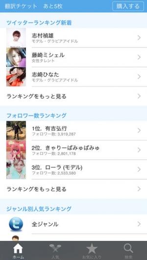 iPhone、iPadアプリ「有名人ツイッターランキング」のスクリーンショット 1枚目