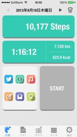 iPhone、iPadアプリ「Walker - 歩数計 Lite」のスクリーンショット 1枚目