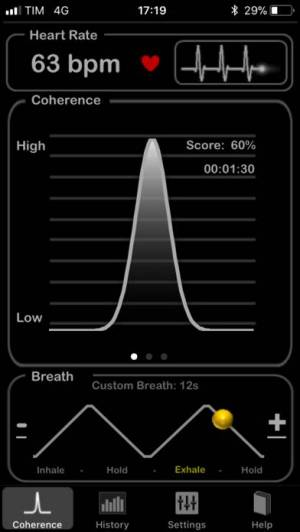 iPhone、iPadアプリ「HeartRate+ Coherence」のスクリーンショット 1枚目