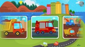 iPhone、iPadアプリ「子供の自動車、トラック、建設車両 – 幼児向けパズル」のスクリーンショット 1枚目