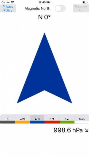 iPhone、iPadアプリ「コンパス東西南北方位磁石地図」のスクリーンショット 1枚目