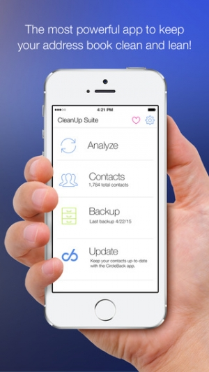 iPhone、iPadアプリ「CleanUp Suite – Quickly and easily clean duplicates from your address book」のスクリーンショット 1枚目