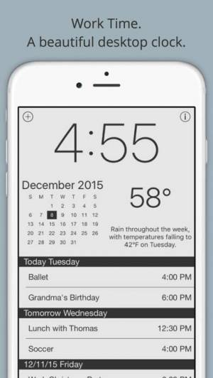 iPhone、iPadアプリ「Work Time - 作業時間 - カレンダーや天気のエレガントなデスクトップ時計」のスクリーンショット 1枚目