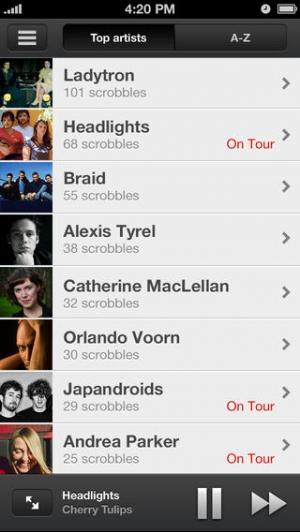 iPhone、iPadアプリ「Scrobbler for iOS」のスクリーンショット 2枚目