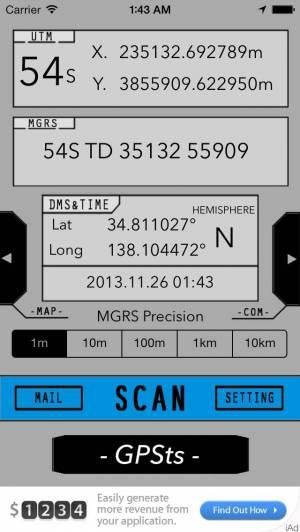 iPhone、iPadアプリ「GPSts」のスクリーンショット 1枚目