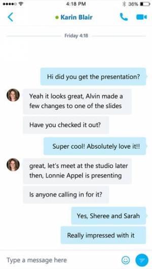 iPhone、iPadアプリ「Skype for Business」のスクリーンショット 2枚目