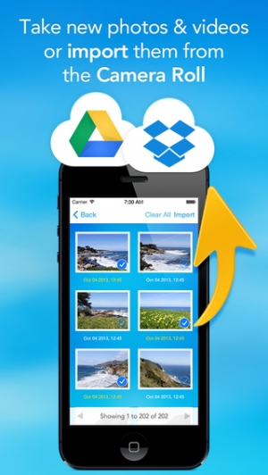 iPhone、iPadアプリ「UploadCam - Camera App for Dropbox and Google Drive」のスクリーンショット 4枚目