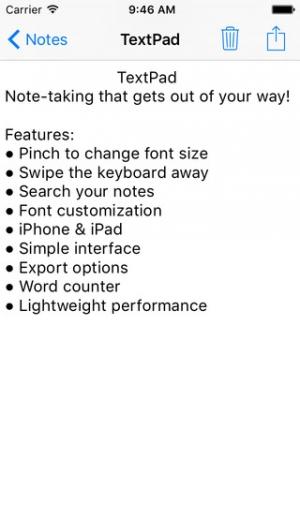 iPhone、iPadアプリ「TextPad」のスクリーンショット 1枚目
