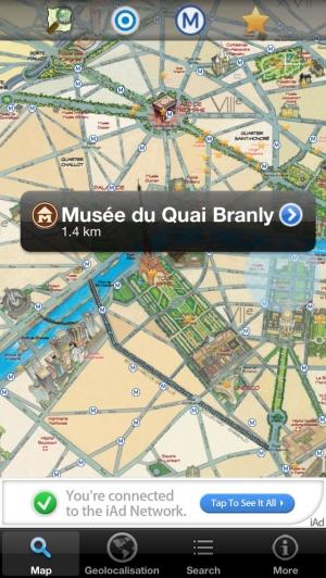 iPhone、iPadアプリ「パリの旅-地図、地下鉄、モニュメント - フリー」のスクリーンショット 1枚目