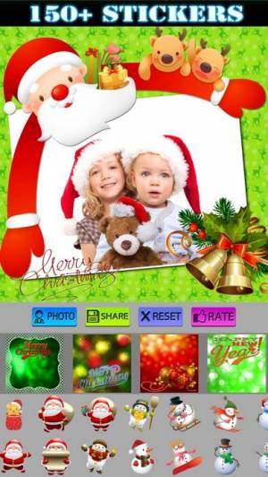 iPhone、iPadアプリ「Christmas Stickers and Photo Frames」のスクリーンショット 3枚目