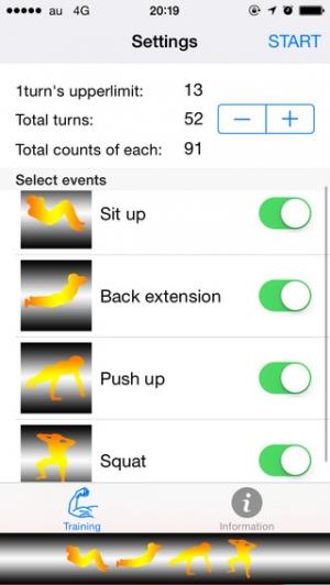 iPhone、iPadアプリ「筋トレ・シャッフル -Muscle training shuffle-」のスクリーンショット 1枚目