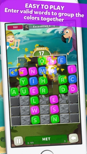 iPhone、iPadアプリ「Wuzzle: Words with color match game to play with letters in a new original way incuding awsome wordsearch, anagrams and good edu」のスクリーンショット 1枚目