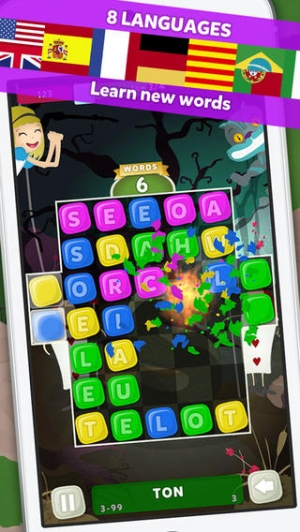 iPhone、iPadアプリ「Wuzzle: Words with color match game to play with letters in a new original way incuding awsome wordsearch, anagrams and good edu」のスクリーンショット 4枚目