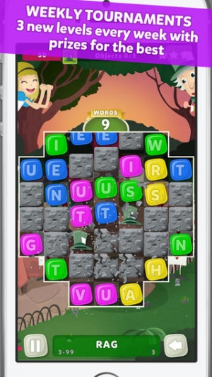iPhone、iPadアプリ「Wuzzle: Words with color match game to play with letters in a new original way incuding awsome wordsearch, anagrams and good edu」のスクリーンショット 3枚目