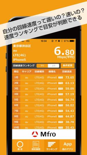iPhone、iPadアプリ「MFR 回線速度チェッカー」のスクリーンショット 3枚目