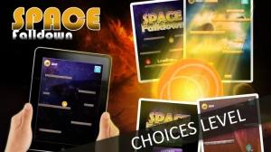 iPhone、iPadアプリ「Space Falldown ! :重力加速度エスケープLiteのアーケードゲーム - 落下ベスト楽しみの一つ 子供のためのボールゲーム - 無料アプリを転がすクールファニー3D病みつき - 加速物理学と嗜癖アプリ」のスクリーンショット 1枚目