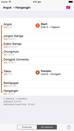 iPhone、iPadアプリ「ソウル線路図 Lite」のスクリーンショット 4枚目
