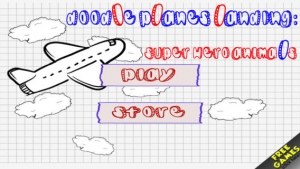 iPhone、iPadアプリ「Doodle Planes Landing: Super Hero Animals  - Fun Addictive Gliding Game (Best free kids games)」のスクリーンショット 1枚目