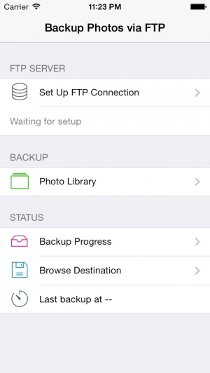 iPhone、iPadアプリ「Backup Photos via FTP - Send To Your Own Server」のスクリーンショット 2枚目