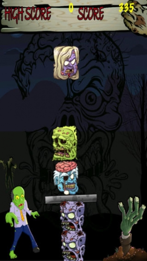 iPhone、iPadアプリ「Zombie Stacker Free : Top Scary Block Stacking Game」のスクリーンショット 1枚目