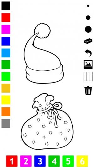 iPhone、iPadアプリ「塗り絵の本 子供のためのクリスマスのサンタクロース、雪だるま、エルフや贈り物のような多くの写真とともに。絵を描画する方法:学ぶためのゲーム」のスクリーンショット 5枚目