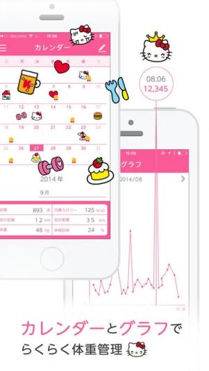 iPhone、iPadアプリ「簡単ダイエット!おさんぽハローキティ」のスクリーンショット 3枚目