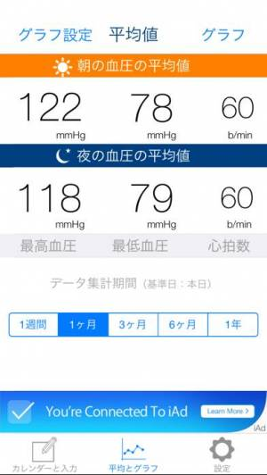 iPhone、iPadアプリ「かんたん血圧ライフログ ー 毎日朝夕記入するだけで見える化」のスクリーンショット 3枚目