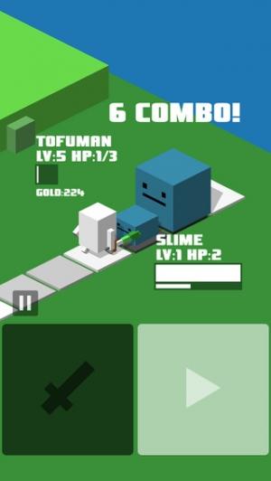 iPhone、iPadアプリ「Cubic Quest - トーフ勇者の簡単操作ちょいムズRPG!」のスクリーンショット 1枚目