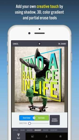 iPhone、iPadアプリ「Typorama: Text on Photo Editor」のスクリーンショット 4枚目
